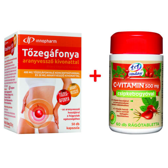 Innopharm Tőzegáfonya aranyvessző kivonattal 50x + ajándék C-vitamin
