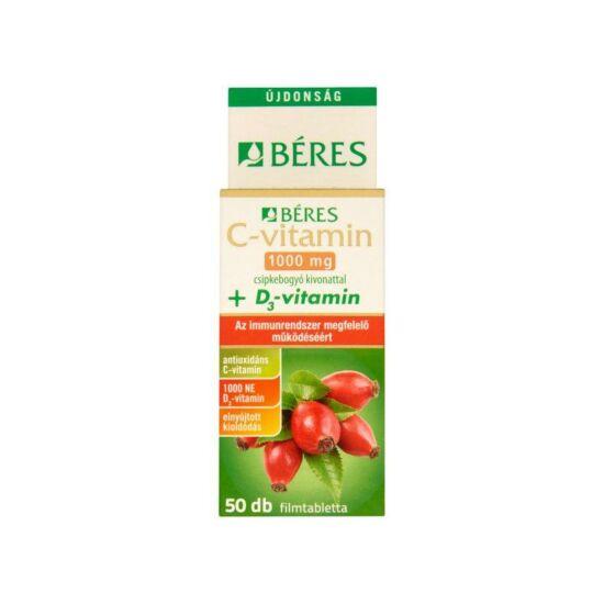 Béres C-vitamin csipkebogyó 1000mg + D3-vitamin 50x
