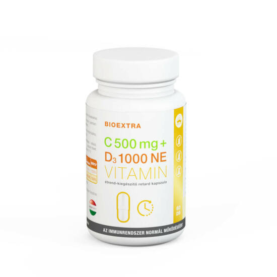 Bioextra C-vitamin 500mg + D3-vitamin 1000 NE retard étrend-kiegészítő kapszula 60x