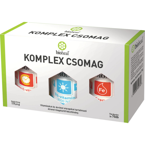 Bioheal Komplex csomag C-vit 70x, D3-vit 70x, Vas+Cink 70x