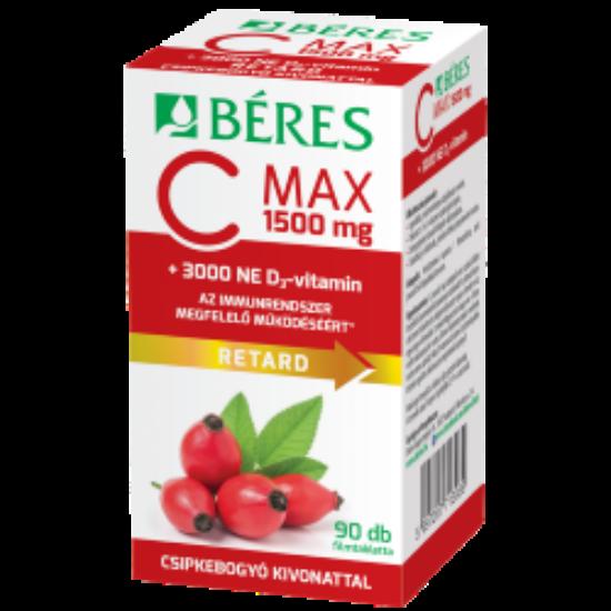 Béres C MAX 1500 mg RETARD filmtabletta csipkebogyó kivonattal + 3000 NE D3-vitamin 90x