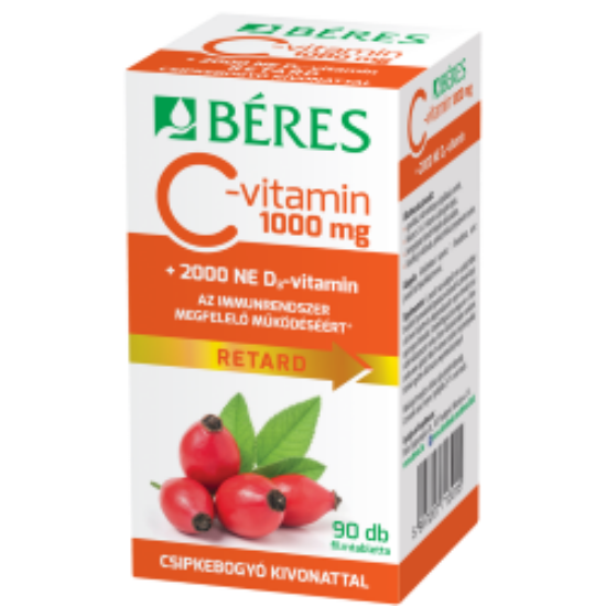 Béres C-vitamin 1000 mg RETARD filmtabletta csipkebogyó kivonattal + 2000 NE D3-vitamin 90x