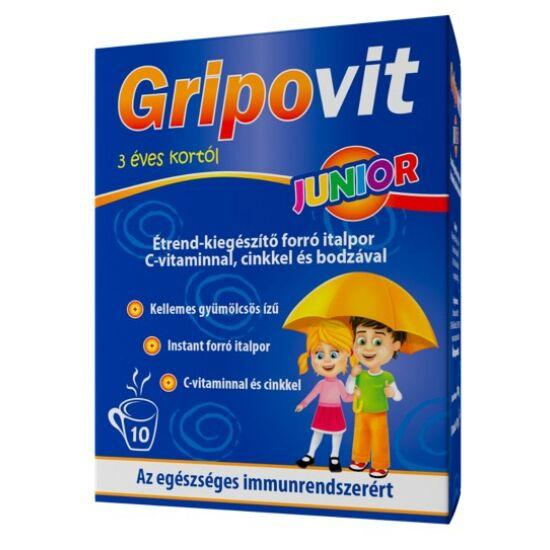 Gripovit Junior étrend-kiegészítő italpor C-vitaminnal, cinkkel és bodzával 10 tasak