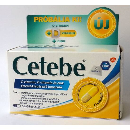 Cetebe C-vitamin+D-vitamin+Cink kapszula 60x